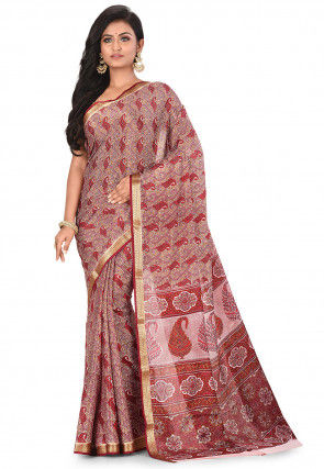 Pure Mysore Crepe Silk Printed Saree in Multicolour