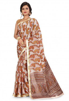 Pure Mysore Crepe Silk Printed Saree in Off White and Multicolour
