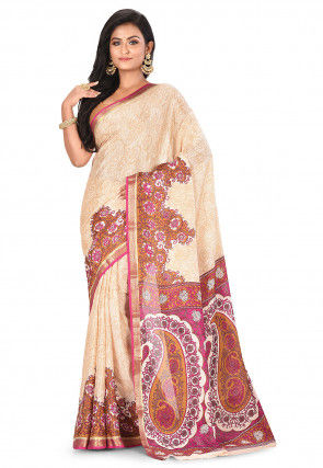 Pure Mysore Crepe Silk Printed Saree in Off White