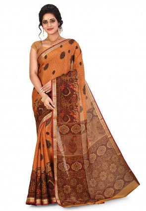 Pure Mysore Crepe Silk Printed Saree in Orange