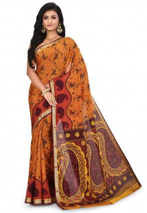 Pure Mysore Crepe Silk Printed Saree in Orange