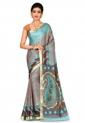 Pure Mysore Crepe Silk Printed Saree in Peach and Sky Blue