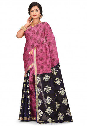 Pure Mysore Crepe Silk Printed Saree in Pink and Navy Blue