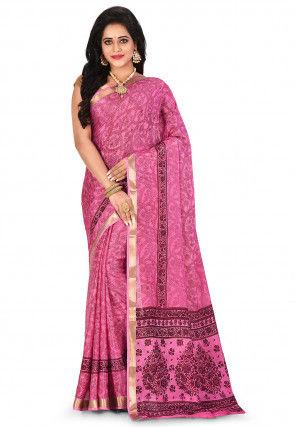 Pure Mysore Crepe Silk Printed Saree in Pink