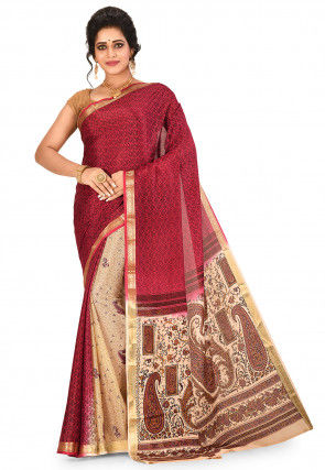 Pure Mysore Crepe Silk Printed Saree in Red and Cream