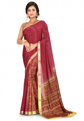 Pure Mysore Crepe Silk Printed Saree in Red and Yellow