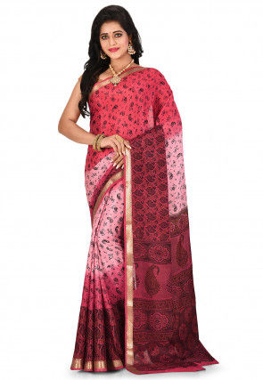 Pure Mysore Crepe Silk Printed Saree in Shaded Pink and Coral Red
