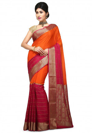 Pure Mysore Crepe Silk Saree in Orange and Fuchsia