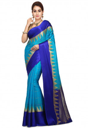 Pure Mysore Crepe Silk Saree in Sky Blue