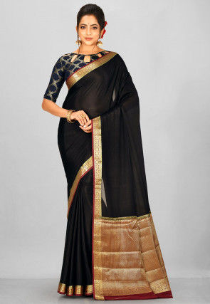 Pure Mysore Crepe Silk Woven Saree in Black
