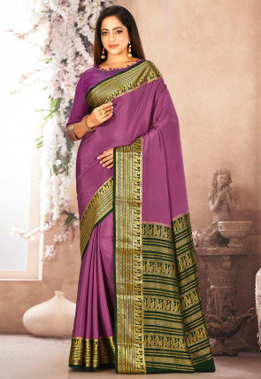 Pure Mysore Crepe Silk Woven Saree in Dusty Magenta