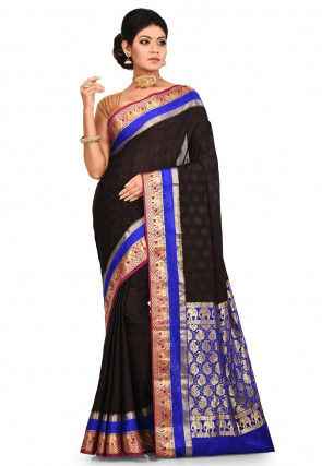 Pure Mysore Silk Woven Saree in Black