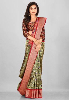 Pure Paithani Silk Saree in Dark Green