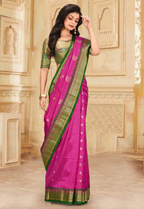 Pure Paithani Silk Saree in Fuchsia