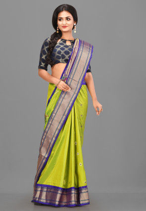 Pure Paithani Silk Saree in Light Green