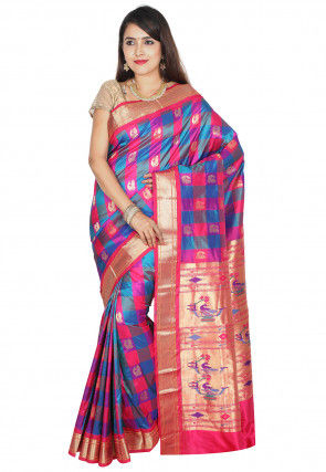 Pure Paithani Silk Saree in Multicolor