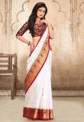 Pure Paithani Silk Saree in Off White