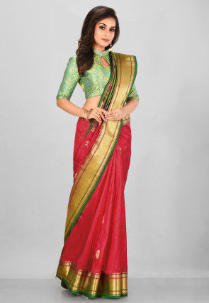 Pure Paithani Silk Saree in Red