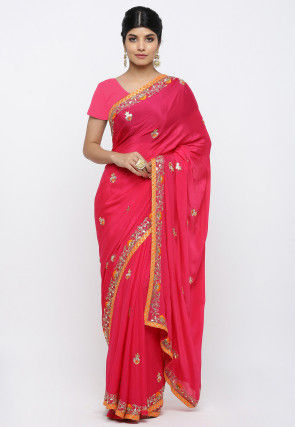 Pure Satin Chiffon Embroidered Saree in Fuchsia