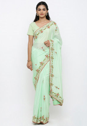Pure Satin Chiffon Hand Embroidered Saree in Sea Green