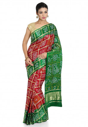 Pure Satin Silk Gharchola Saree in Maroon and Green