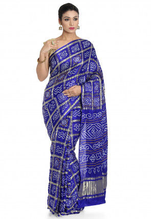 Pure Satin Silk Gharchola Saree in Royal Blue