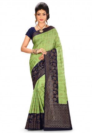 Pure Silk Banarasi Saree in Light Green