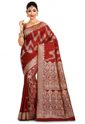 Pure Silk Banarasi Saree in Maroon