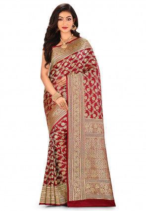 Pure Silk Banarasi Saree in Maroon