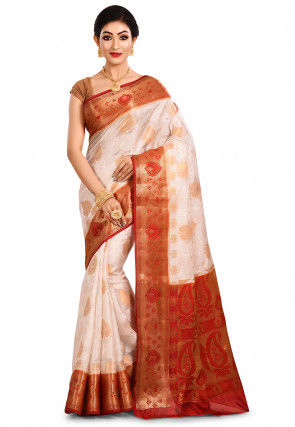 Pure Silk Banarasi Saree in Off White