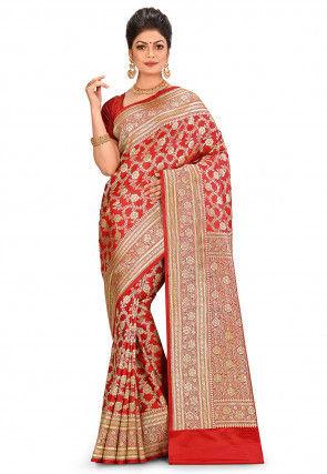 Pure Silk Banarasi Saree in Red
