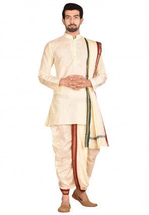 Pure Silk Dhoti Kurta Set in Cream