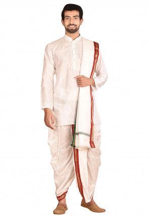 Pure Silk Dhoti Kurta Set in White