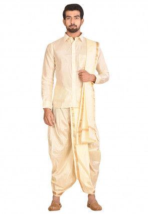 Pure Silk Dhoti Shirt Set in Cream