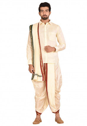 Pure Silk Dhoti Shirt Set in Cream