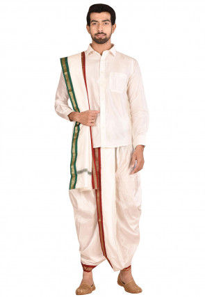 Pure Silk Dhoti Shirt Set in Off White