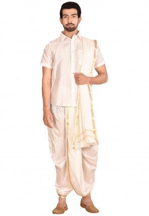 Pure Silk Dhoti Shirt Set in Off White