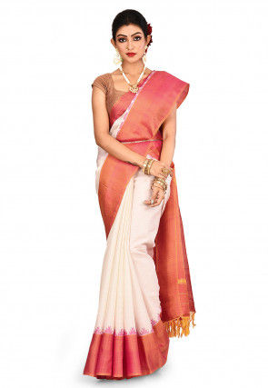 Pure Silk Gadwal Saree in Off White