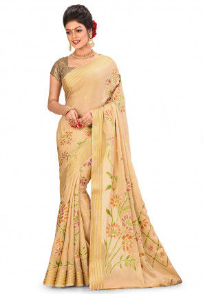Pure Silk Georgette Banarasi Saree in Beige