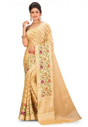 Pure Silk Georgette Banarasi Saree in Beige