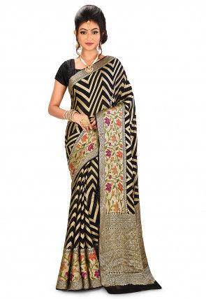 Pure Silk Georgette Banarasi Saree in Black