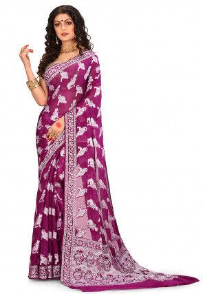 Pure Silk Georgette Banarasi Saree in Purple