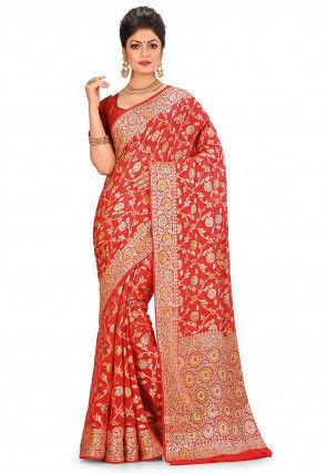 Pure Silk Georgette Banarasi Saree in Red