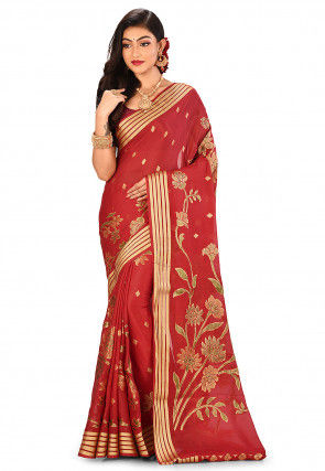 Pure Silk Georgette Banarasi Saree in Red