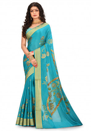 Pure Silk Georgette Banarasi Saree in Turquoise