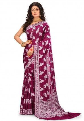 Pure Silk Georgette Banarasi Saree in Wine