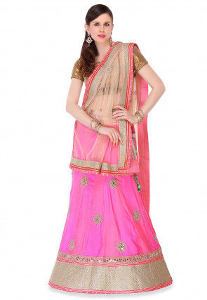 Pure Silk Hand Embroidered Lehenga In Pink