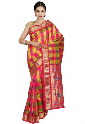 Pure Silk Paithani Saree in Multicolor