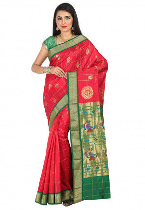 Pure Silk Paithani Saree in Red
