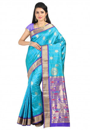Pure Silk Paithani Saree in Sky Blue